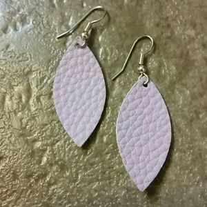 Lavender leather earrings
